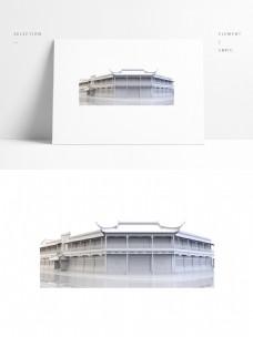 中国风古典商场模型