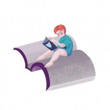 儿童节卡通手绘看书儿童