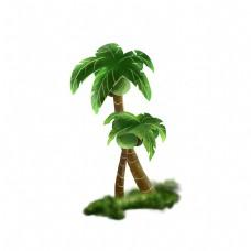 夏日绿色可爱平面设计椰树