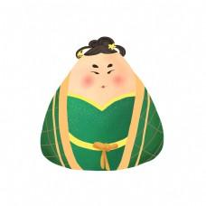 端午节绿色可爱唐装粽子
