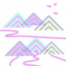 发光霓虹灯远山