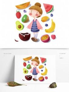 手绘小女孩水果派对健康生活