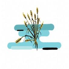 卡通麦穗插图