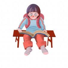 读书日手绘可爱看书女孩