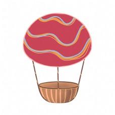 儿童节粉色可爱平面设计热气球