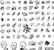 黑白矢量婴幼儿日常用品插画