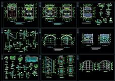 三层商住住宅徽派风格建筑CAD施工图纸