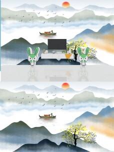 新中式写意山水画电视背景墙