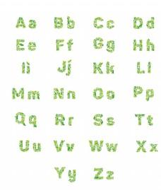绿叶卡通字母表