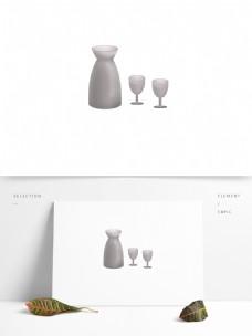 精致清酒花朵装饰酒瓶