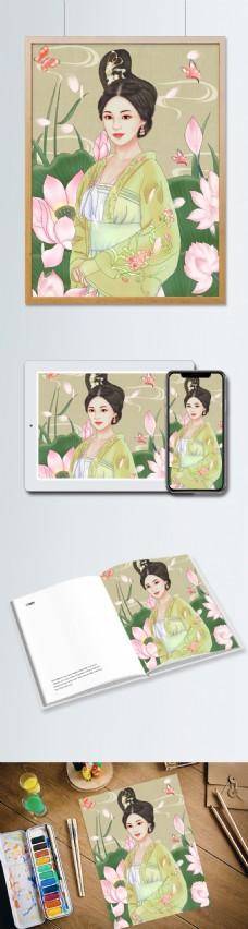 原创手绘插画国潮古装美女中国风荷花蝴蝶