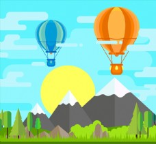 扁平化郊外天空热气球风景