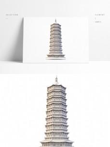 复古建筑物中式宝塔