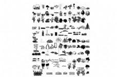 常用园林景观模型CAD立面图