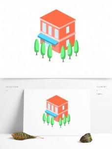 2.5D风格独栋别墅住房元素