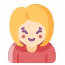 彩色圆弧短发女孩元素