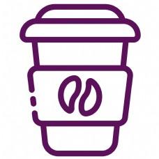 灰色手绘圆角咖啡杯元素