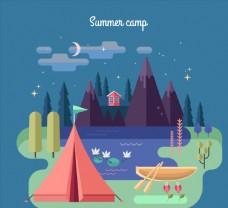 扁平化夏季野营自然风景