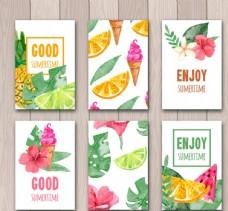 彩绘夏季花草水果卡片