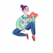 青年节卡通手绘时尚看书女孩