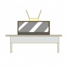 银色桌椅电视机