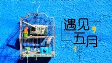 遇见五月蓝色文艺海报banner背景