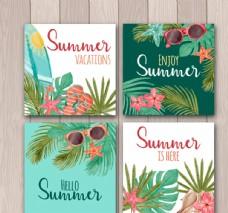 彩绘夏季度假卡片