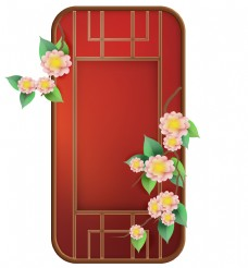 古风红色花卉窗子