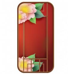 富贵花卉和中国风窗格