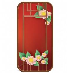 中国风红色窗子和花朵窗框