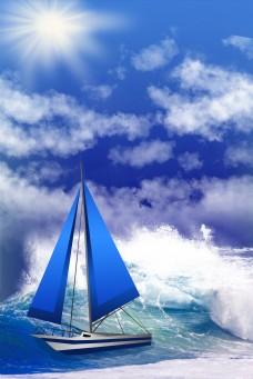 企业文化大海中航行的轮船