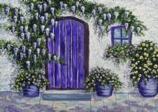 紫色门 花墙