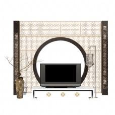 中式圆形电视背景墙