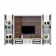 现代电视背景置物柜
