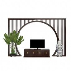 中式实木屏风背景墙