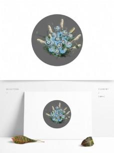 婚礼效果蓝色花艺元素设计装饰绘画