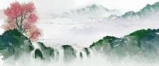 关山渡雁水墨风景