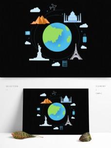 手绘地球世界各国建筑环游世界元素