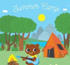 野营中的棕熊矢量素材