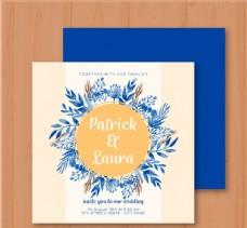 蓝色手绘花卉婚礼邀请卡
