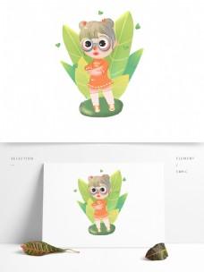 卡通可爱女孩儿童插画元素可爱儿童形象