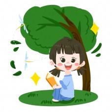 夏日卡通女孩树下看书PNG素材