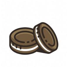 卡通巧克力夹心饼干图标免扣图
