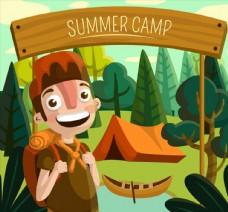 创意参加夏令营的男子