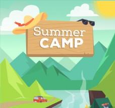 创意夏季野营自然风景