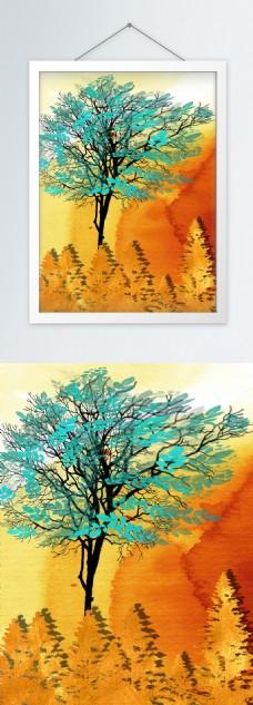 简约蓝色水彩树客厅装饰画