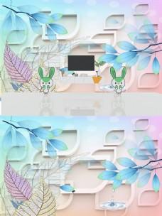 3D立体手绘树叶背景墙
