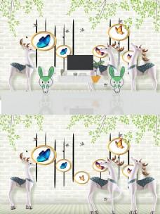 麋鹿圆圈蝴蝶3D背景墙