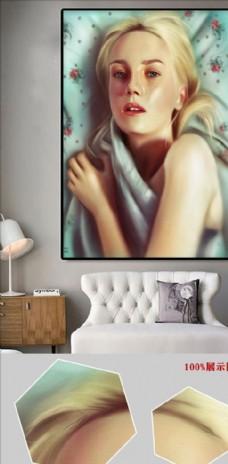 欧式手绘时尚复古女郎无框画