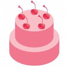 一个粉色的卡通蛋糕